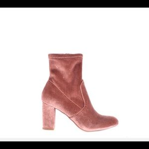 Steve Madden pink suede block heel ankle boots